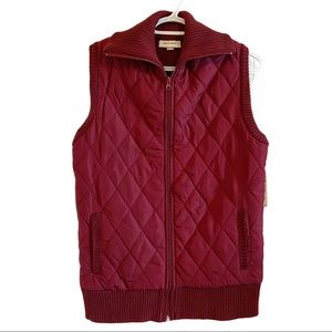 NWT quilted and knit burgundy zip up vest